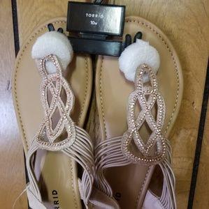 Torrid size 10W blush colored tstrap sandals